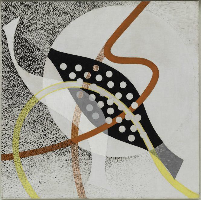 Moholy-Nagy, CH BEATA I, 1939. Oil and graphite on canvas, 118-9x119.8 cm. Solomon R. Guggenheim Museum, New York, Solomon R. Guggenheim Founding Collection 48.1128 © Hattula Moholy-Nagy/VG Bild-Kunst, Bonn/Artists Right Society (ARS), New York