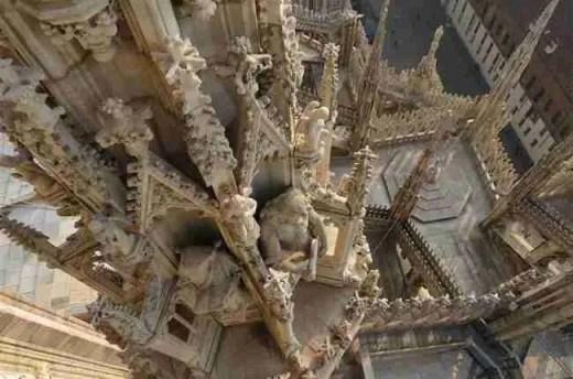 Aerial of Milano Duomo Spires
