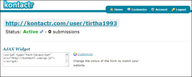 add blogger contact form inside contact us page