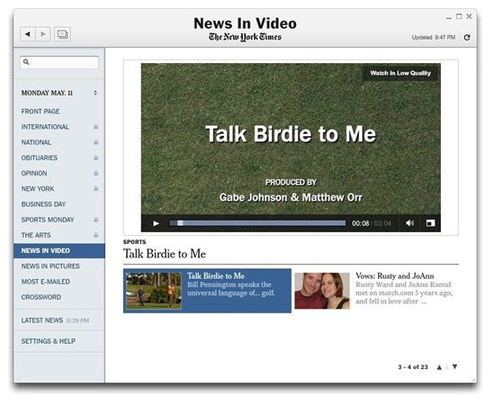 News in Videos in the New York Times Reader