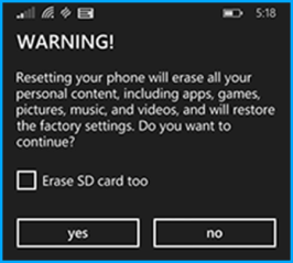 Windows Phone Recovery Tool - Reset Phone Warning