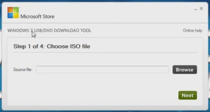 windows 7 usb dvd download tool choose iso file