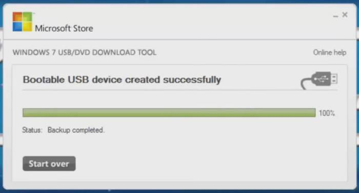 windows 7 usb dvd download tool bootable usb deive created successfully