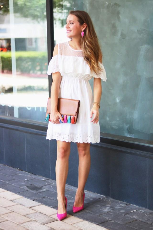 White cold shoulder dress   25 Bridal event dresses   Bridal Shower Dress