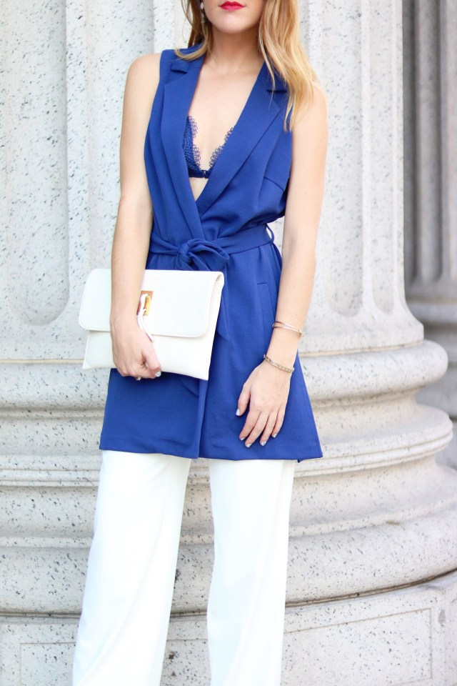 New York Fashion Week street style: Blue vest + wide leg pants