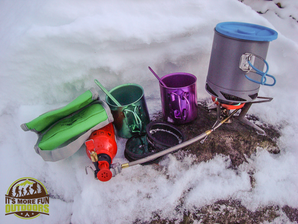 Making coffee and dinner after an amazing day of snow shoeing in the Dix Range, Adirondacks, NY 1.24.2015