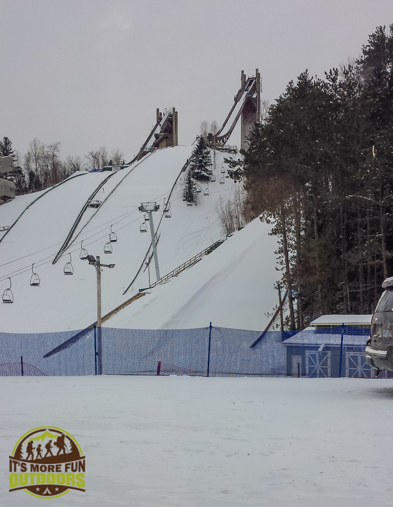 At the Olympic Ski Jump center - heading for the top! 2.14.15 Lake Placid, NY