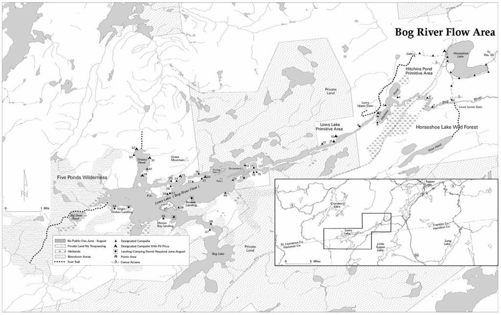 NYSDEC Map of the Bog River Flow, 5 Ponds Wilderness, Horseshoe Lake Wilderness, Adirondacks, Piercefield, NY