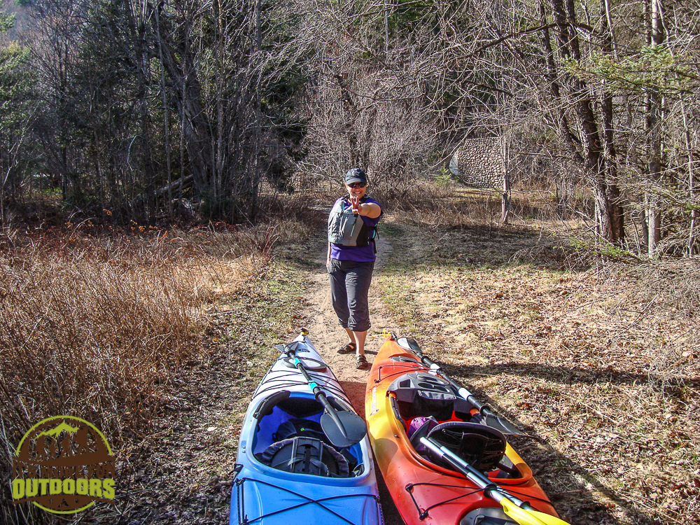 The portage trail to carry around Low's upper dam is easy to wheel, but we had no wheels :) . May 2015 Bog River Flow Hike, Paddle, Camp!