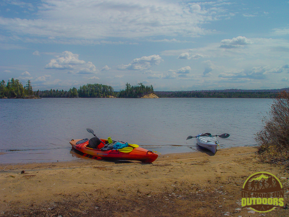 The wide open, sandy beach and lovely eastern views of campsite 20 on Low's Lake. 2015 BOG RIVER FLOW-CAMPSITE 20