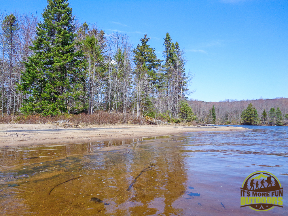 The wide open, sandy beach of campsite 20 on Low's Lake. 2015 BOG RIVER FLOW-CAMPSITE 20