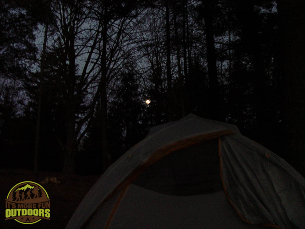 A full moon rising over the tent at campsite #13 on Low's Lake, Bog River Flow. Unforgettable!