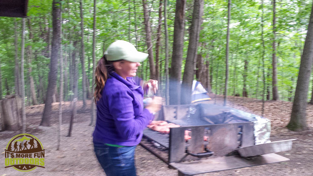Nice big barbecue grill at the AWESOME group campsite. Car Camping, hiking, kayaking, canoeing at Moreau Lake State Park Campground