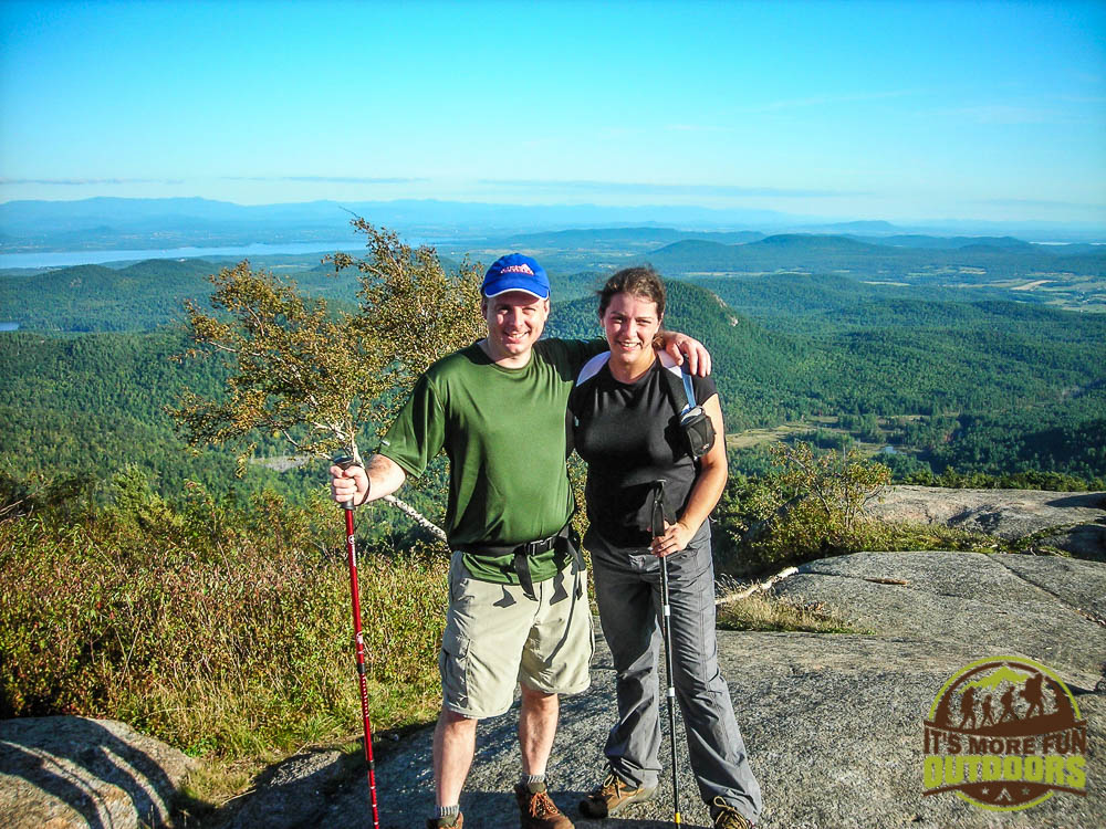 Chris and me on the summit, our third summit that day. We were beat but thrilled with our accomplishments! 9/6/2009: Poke-O-Moonshine Hike, Adirondacks, NY