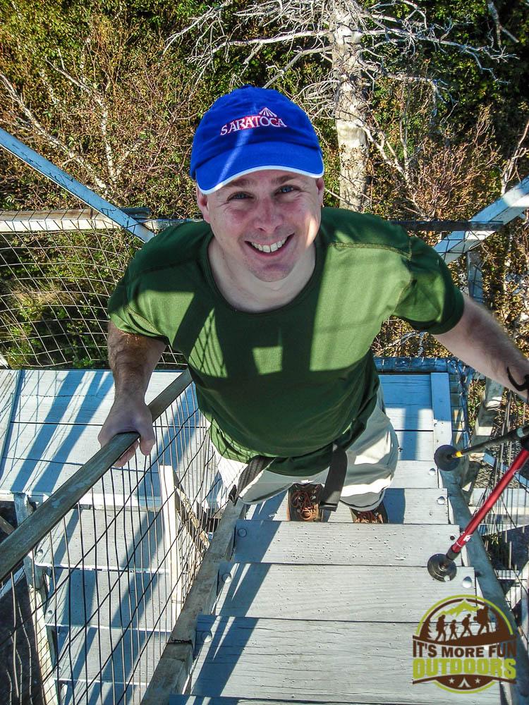 Chris climbing the firetower! 9/6/2009: Poke-O-Moonshine Hike, Adirondacks, NY