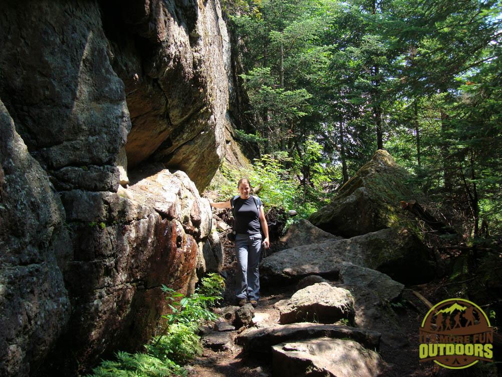 Hiking through Avalanche Pass, a must-do, 10-mile round trip hike which begins at the Adirondak Loj, Lake Placid, Adirondacks, NY