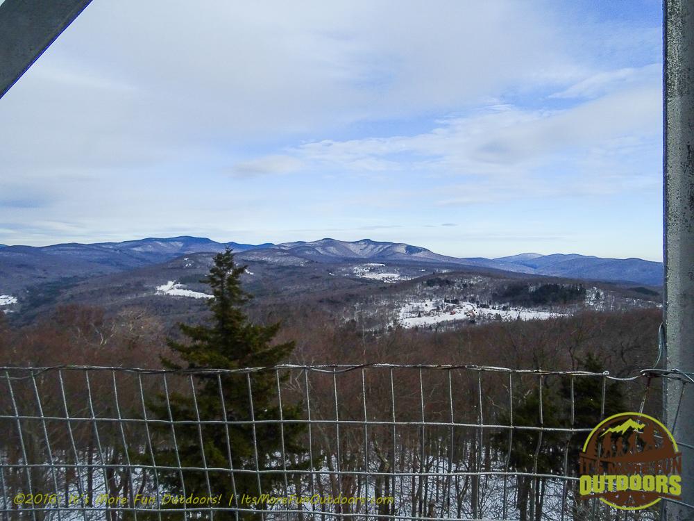 Looking out at the Catskill high peaks from the fire tower. Red Hill Fire Tower in the Catskill Mountains: Our First Winter Fire Tower Challenge Hike!