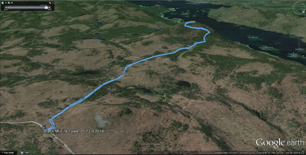 GPS track of my hike overlaid on Google Earth. February 5, 2016 Black Mountain: My First SOLO Winter Fire Tower Challenge Hike!