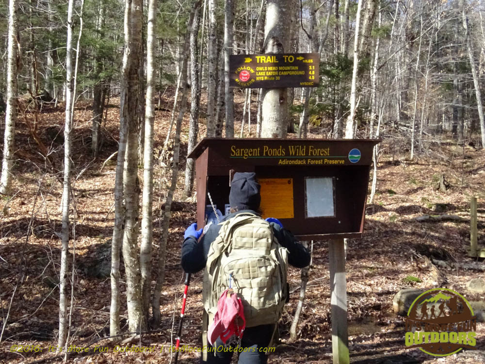 Trail register is right at parking. We followed red trail markers, out and back. Owl's Head Winter Fire Tower Challenge Hike, Long Lake, NY, Adirondacks March 13, 2016