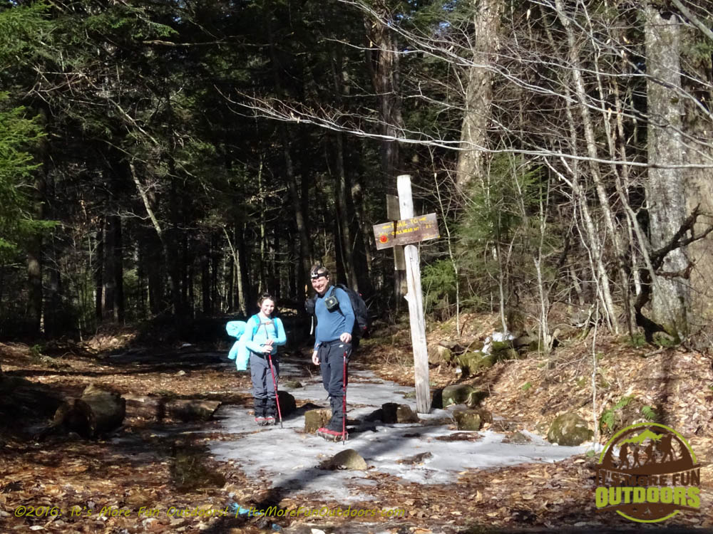 Trail junction, you can continue to the summit or go to the Lake Eaton Campground. Owl's Head Winter Fire Tower Challenge Hike, Long Lake, NY, Adirondacks, March 13, 2016