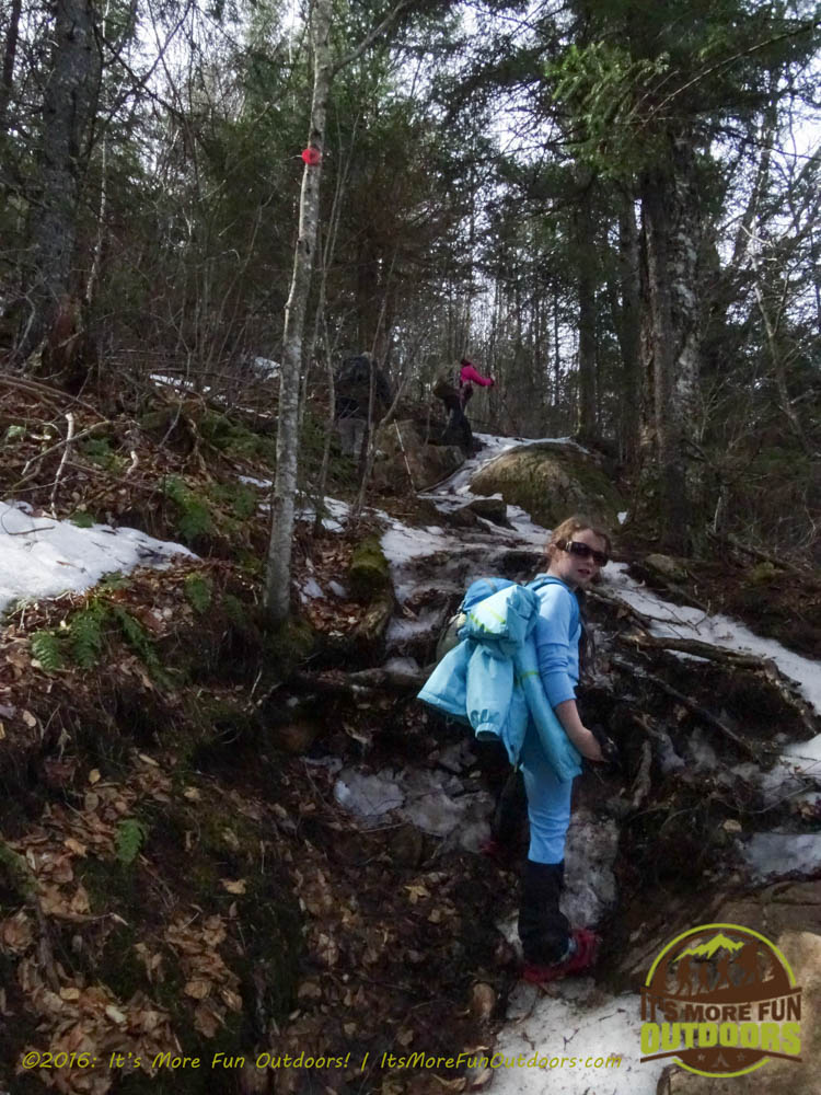 Here comes the steep stuff! Owl's Head Winter Fire Tower Challenge Hike, Long Lake, NY, Adirondacks March 13, 2016