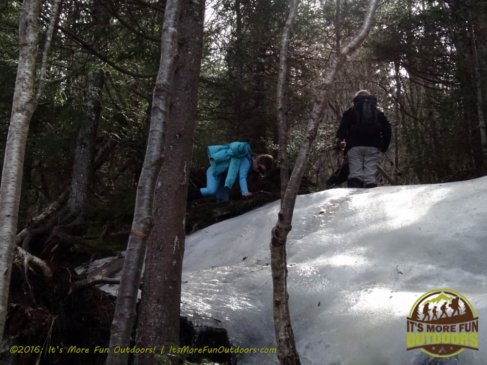 Climbing the hardest part of the trail - this ice wall. We had to get up by going to the left here. Owl's Head Winter Fire Tower Challenge Hike, Long Lake, NY, Adirondacks March 13, 2016