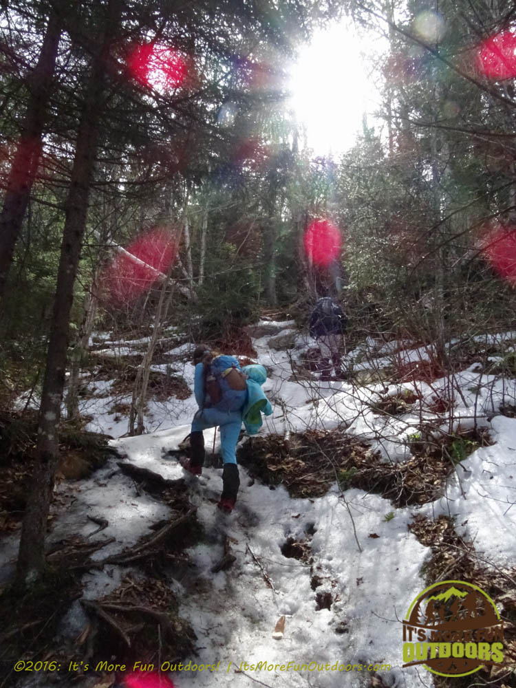 More icy stuff - it was ice all the way to the summit pretty much that last half mile. Owl's Head Winter Fire Tower Challenge Hike, Long Lake, NY, Adirondacks March 13, 2016