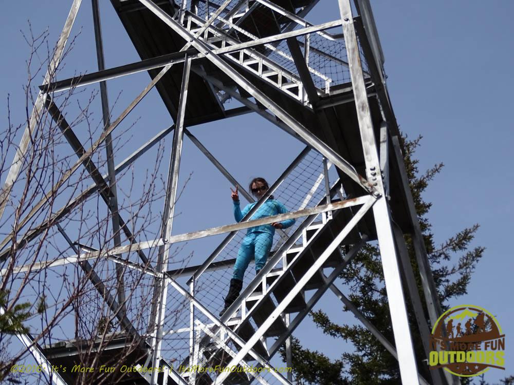 Dora had a blast climbing Owl's Head Fire Tower! Winter Fire Tower Challenge Hike, Long Lake, NY, Adirondacks, March 13, 2016