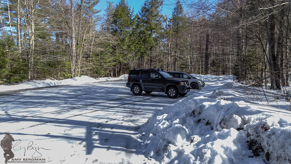 Parking lot at the Goodnow Mountain Trailhead. 2/22/16: Goodnow Mountain Wiinter Fire Tower Challenge Hike with VIDEO!