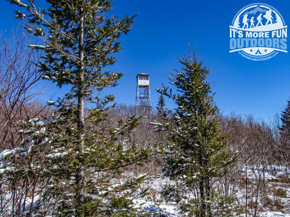 Looking back at the tower as we wandered around on the summit ledge. 3/19/2016: Winter hike-Azure Mountain Fire Tower, Debar Mountain Wild Forest, Adirondacks