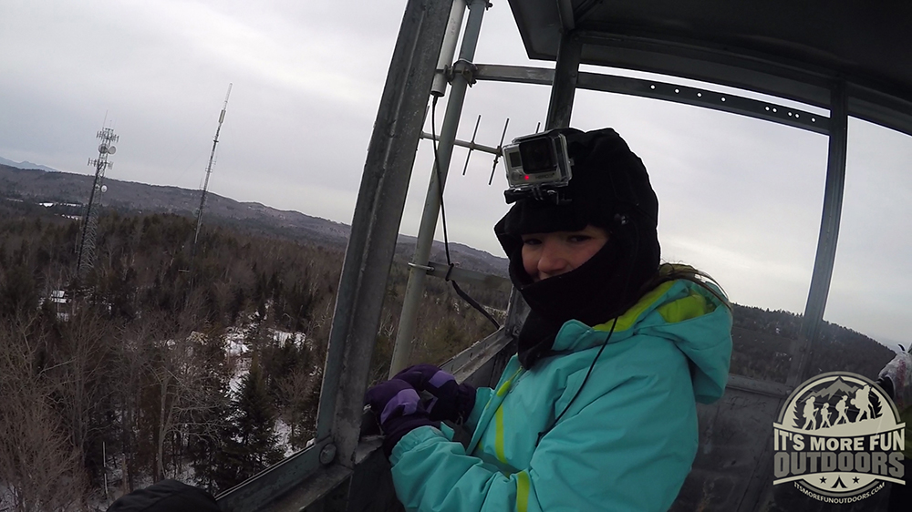 Dora was happy we packed the balaclavas for this winter hike! 2/15/2016: Belfry Mountain Winter Fire Tower Challenge Hike!