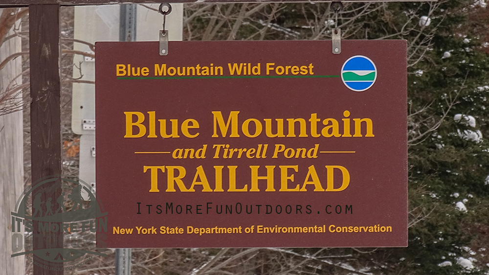 The roadside DEC sign at the parking area. Blue Mountain Winter Fire Tower Challenge Hike!
