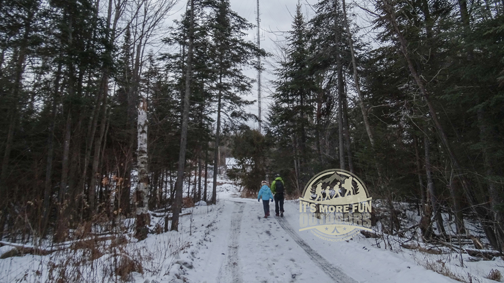 The Belfry Mountain trail is actually a truck road, as you come to splits, stay to the left. 2/15/2016: Belfry Mountain Winter Fire Tower Challenge Hike!