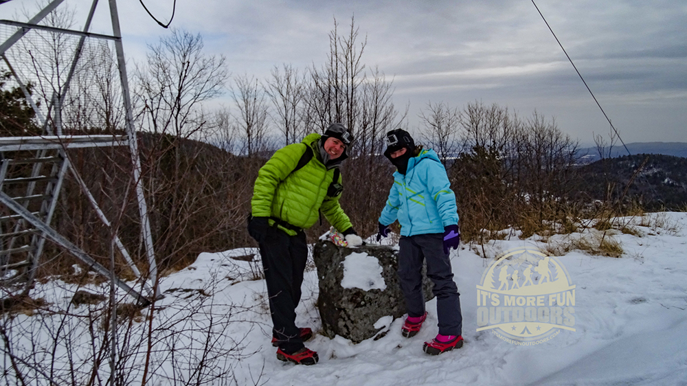 Survey marker at the summit, one of two we found. 2/15/2016: Belfry Mountain Winter Fire Tower Challenge Hike!