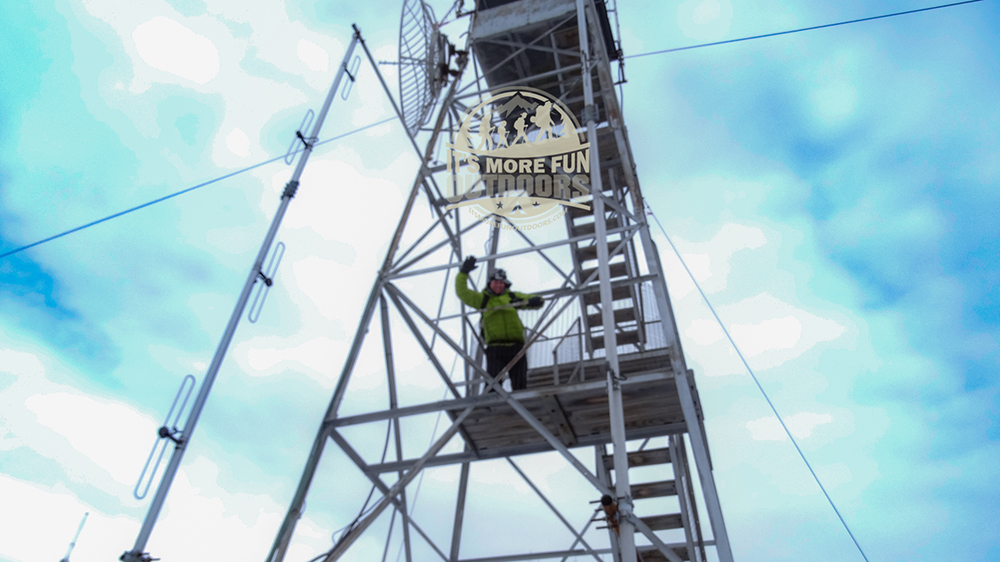 Chris, about halfway up the 47-foot Belfry Mountain fire tower. 2/15/2016: Belfry Mountain Winter Fire Tower Challenge Hike!