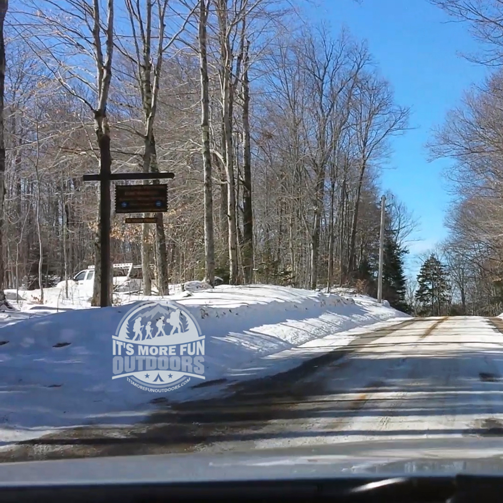 The sign for parking as you arrive on Rondaxe Road. 3/5/2017: Bald (Rondaxe) Mountain Winter Fire Tower Challenge Hike!