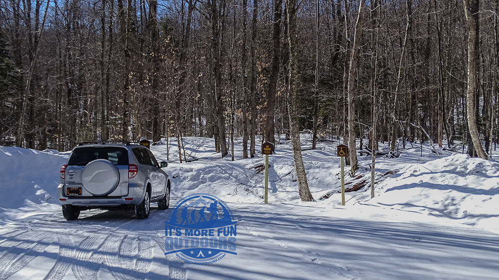 The small parking area at the Stillwater fire tower trail head. Stillwater Mountain Fire Tower Challenge Hike 3/5/17!