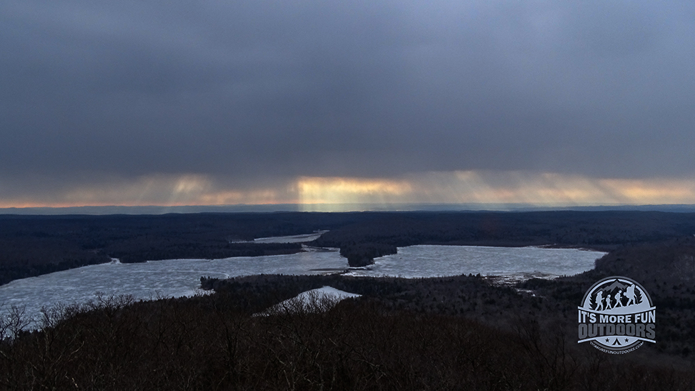Rays of sun shine through the heavy overcast, just for us :) 2/6/2016: Kane Mountain Winter Fire Tower Challenge Hike!