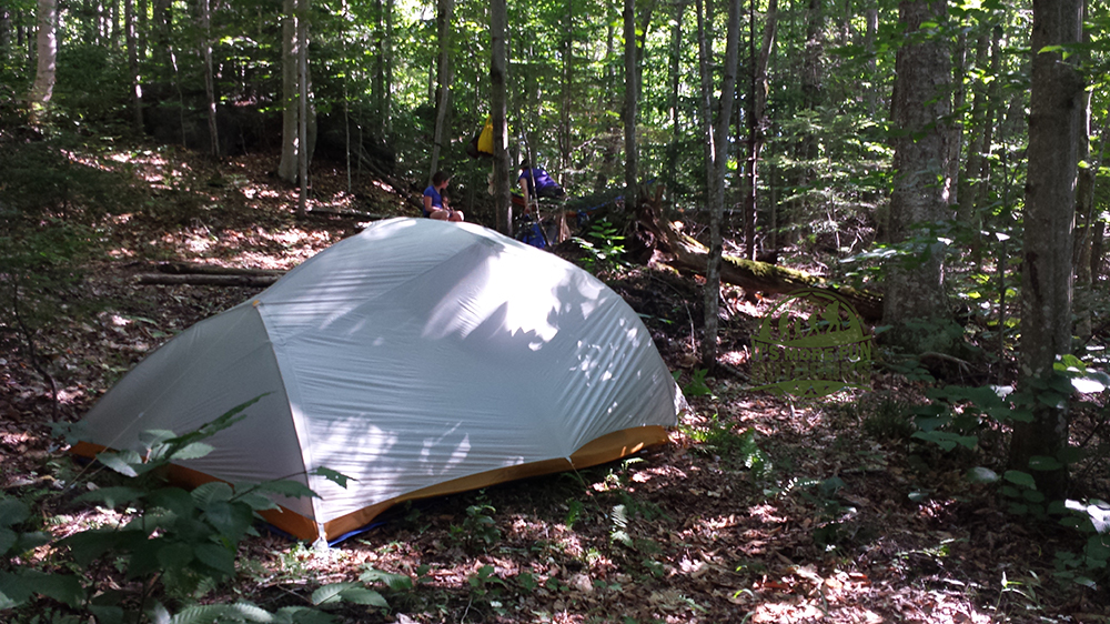 Our three-person backpacking tent was about as much tent as we would want to try to fit at the third tent campsite. Henderson Lake Kayak Camping, Tahawus Hike!