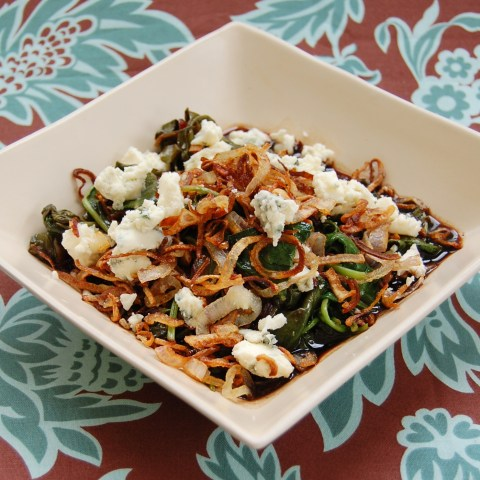 sauteed greens with shallots and blue cheese