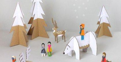 diy-winter-peg-dolls-with-cardboard-animals