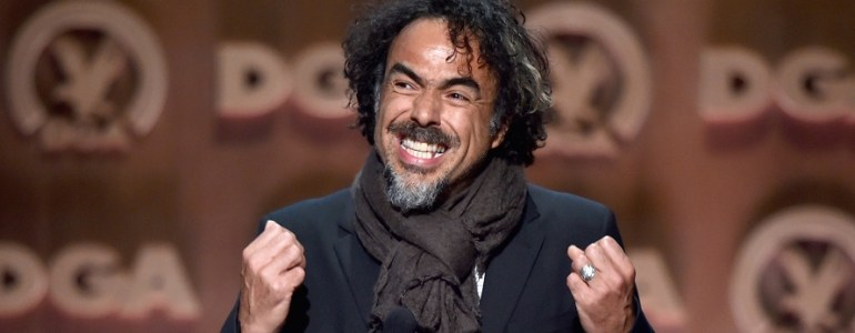 CENTURY CITY, CA - FEBRUARY 07:   Director Alejandro Gonzalez Inarritu accepts the Feature Film Nomination Plaque for 'Birdman or (The Unexpected Virtue of Ignorance)'onstage at the 67th Annual Directors Guild Of America Awards at the Hyatt Regency Century Plaza on February 7, 2015 in Century City, California.  (Photo by Alberto E. Rodriguez/Getty Images for DGA)