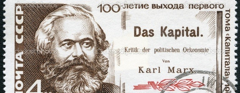 "USSR - CIRCA 1967: A stamp printed in USSR shows Karl Marx and Title Page of ""Das Kapital"", Centenary of the publication of ""Das Kapital"" by Karl Marx, circa 1967"