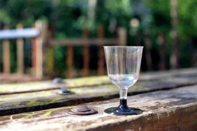 A Glass on a Bench