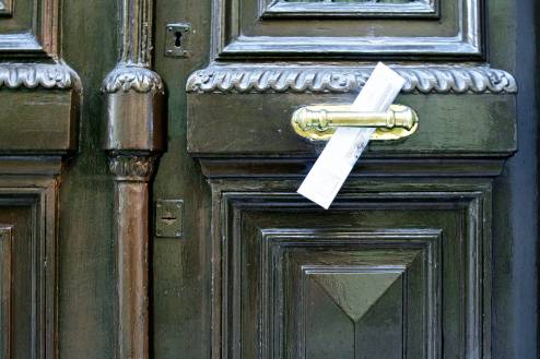 A letter at the door.