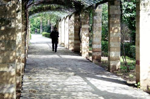 A man walking through an arch walkway in the national garden in Athens.