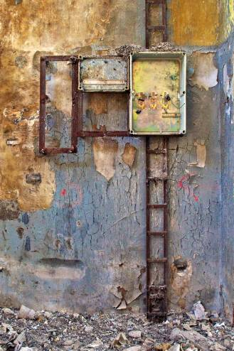 The framework of an electrical infrastructure rotting away.