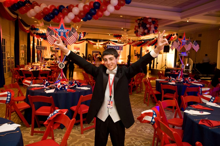 mitzvah boy at party