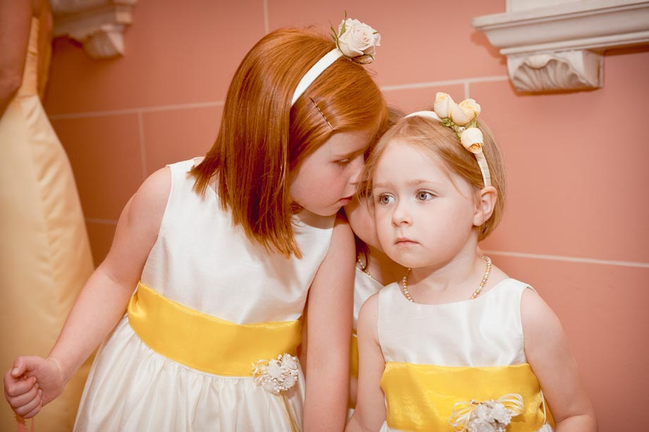 flower girls in white and yellow