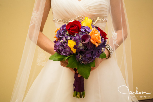 purple red yellow orange bridal bouquet